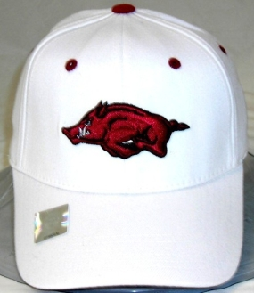 Arkansas Razorbacks White One Fit Hat