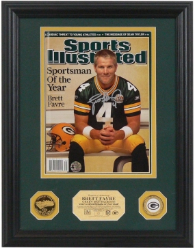 Brett Favre Autographed NFL 2007 Sportsman of the Year SI I 24kt Gold Coin Photo Mint