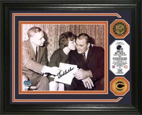 Dick Butkus Autographed 24KT Gold Coin Photo Mint