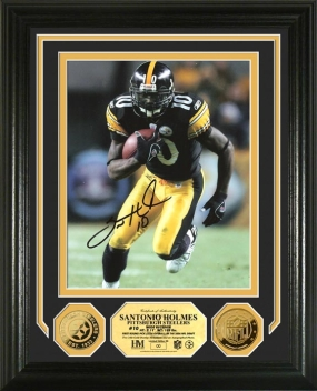 Santonio Holmes Autographed 24KT Gold Coin Photo Mint