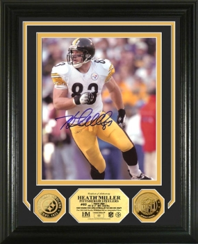 Heath Miller Autographed 24KT Gold Coin Photo Mint