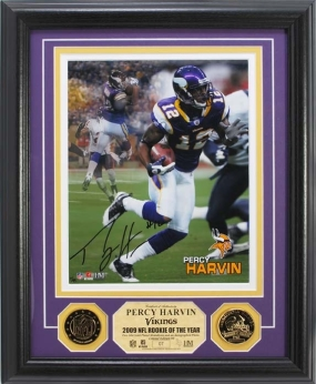Percy Harvin Autographed 24KT Gold Coin Photo Mint