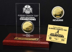 Alabama Crimson Tide 2009 Champions 24KT Gold Coin in Engraved Acrylic