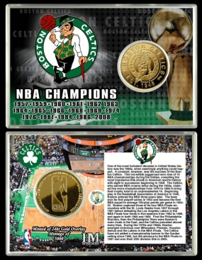 Boston Celtics Team History 24KT Gold Coin Card