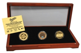BALTIMORE ORIOLES 24kt Gold and Infield Dirt 3 Coin Set