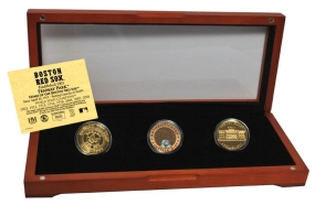BOSTON RED SOX 24kt Gold and Infield Dirt 3 Coin Set