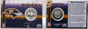 Baltimore Ravens Team History Silver Coin Card