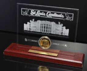 Busch Stadium 24KT Gold Etched Acrylic