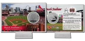 Busch Stadium Silver Plate Coin Card