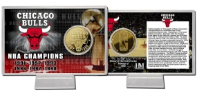 Chicago Bulls Team History 24KT Gold Coin Card
