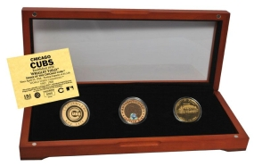 Chicago Cubs 24kt Gold and Infield Dirt 3 Coin Set