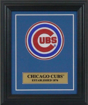 Chicago Cubs Embroidered Commemorative Patch Mat and Frame