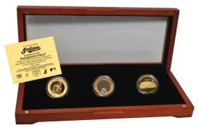 CLEVELAND INDIANS 24kt Gold and Infield Dirt 3 Coin Set