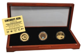 CINCINNATI REDS 24kt Gold and Infield Dirt 3 Coin Set