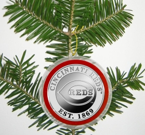 Cincinnati Reds Silver Coin Ornament
