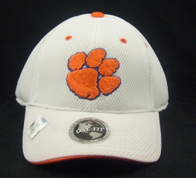 Clemson Tigers White Elite One Fit Hat