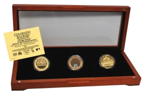 COLORADO ROCKIES 24kt Gold and Infield Dirt 3 Coin Set