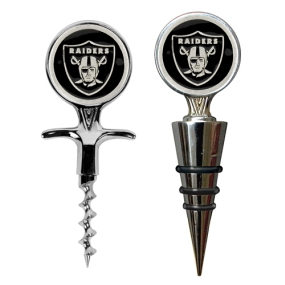 Oakland Raiders Cork Screw and Wine Bottle Topper Set