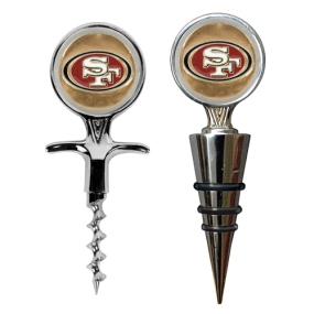 San Francisco 49ers Cork Screw and Wine Bottle Topper Set