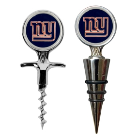 New York Giants Cork Screw and Wine Bottle Topper Set