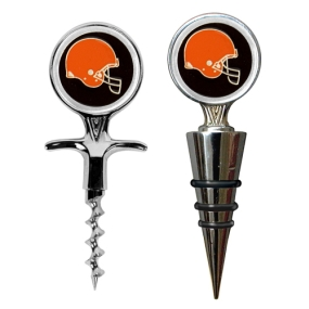 Cleveland Browns Cork Screw and Wine Bottle Topper Set