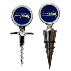 Seattle Seahawks Cork Screw and Wine Bottle Topper Set