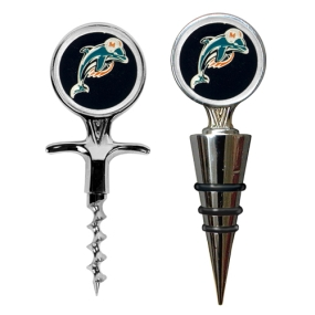 Miami Dolphins Cork Screw and Wine Bottle Topper Set