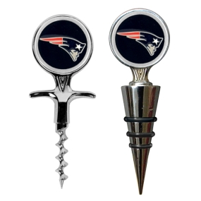 New England Patriots Cork Screw and Wine Bottle Topper Set