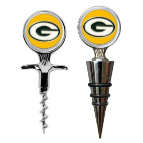Green Bay Packers Cork Screw and Wine Bottle Topper Set