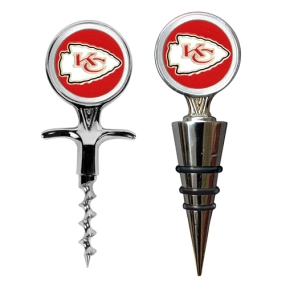 Kansas City Chiefs Cork Screw and Wine Bottle Topper Set