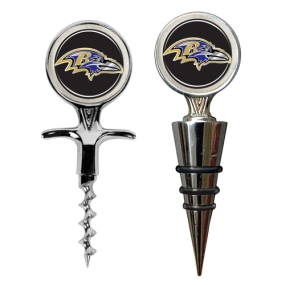 Baltimore Ravens Cork Screw and Wine Bottle Topper Set