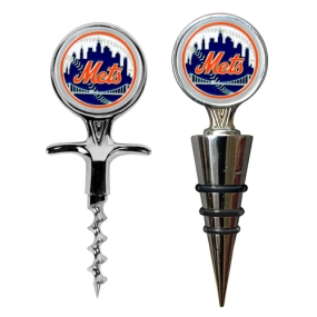 New York Mets Cork Screw and Wine Bottle Topper Set