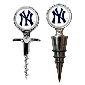New York Yankees Cork Screw and Wine Bottle Topper Set
