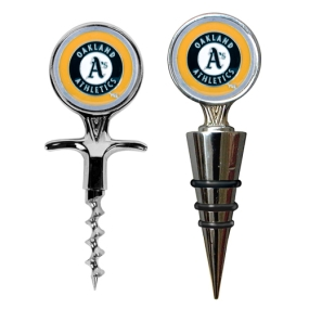 Oakland A's Cork Screw and Wine Bottle Topper Set