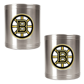 Boston Bruins 2pc Stainless Steel Can Holder Set- Primary Logo