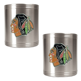 Chicago Blackhawks 2pc Stainless Steel Can Holder Set- Primary Logo