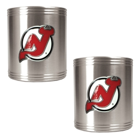 New Jersey Devils 2pc Stainless Steel Can Holder Set- Primary Logo