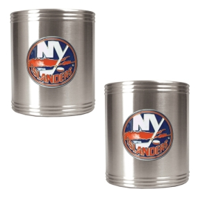 New York Islanders 2pc Stainless Steel Can Holder Set- Primary Logo