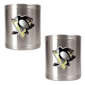 Pittsburgh Penguins 2pc Stainless Steel Can Holder Set- Primary Logo
