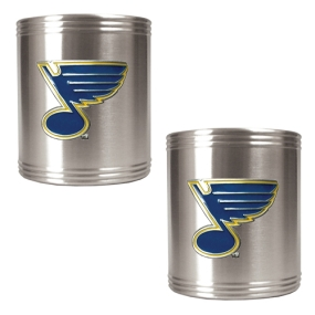 St. Louis Blues 2pc Stainless Steel Can Holder Set- Primary Logo