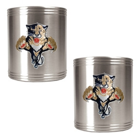 Florida Panthers 2pc Stainless Steel Can Holder Set- Primary Logo