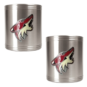 Phoenix Coyotes 2pc Stainless Steel Can Holder Set- Primary Logo