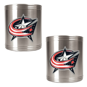 Columbus Blue Jackets 2pc Stainless Steel Can Holder Set- Primary Logo