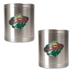 Minnesota Wild 2pc Stainless Steel Can Holder Set- Primary Logo