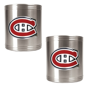 Montreal Canadiens 2pc Stainless Steel Can Holder Set- Primary Logo