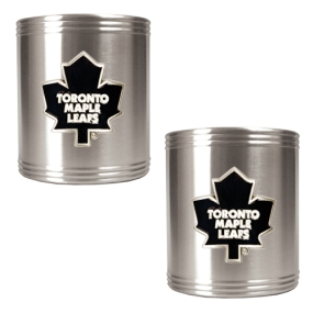 Toronto Maple Leafs 2pc Stainless Steel Can Holder Set- Primary Logo