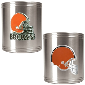 Cleveland Browns 2pc Stainless Steel Can Holder Set