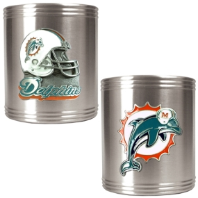 Miami Dolphins 2pc Stainless Steel Can Holder Set