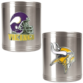 Minnesota Vikings 2pc Stainless Steel Can Holder Set