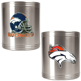 Denver Broncos 2pc Stainless Steel Can Holder Set
